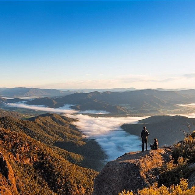 Overlooking the cloud-filled valleys of Mount Buffalo