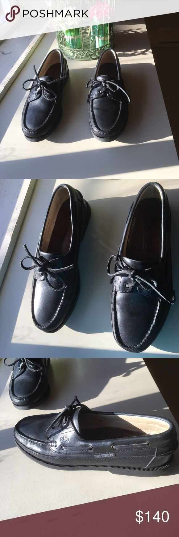 "Mephisto black boat shoes. If you know shoes Mephisto is quality and ""worlds most comfortable walking shoe. Backed by company for lifetime satisfaction. Worn twice.great condition. Size US 11. EUR 10-1/2. I love em but Too big.really great shoe. Mephisto Shoes Loafers & Slip-Ons"