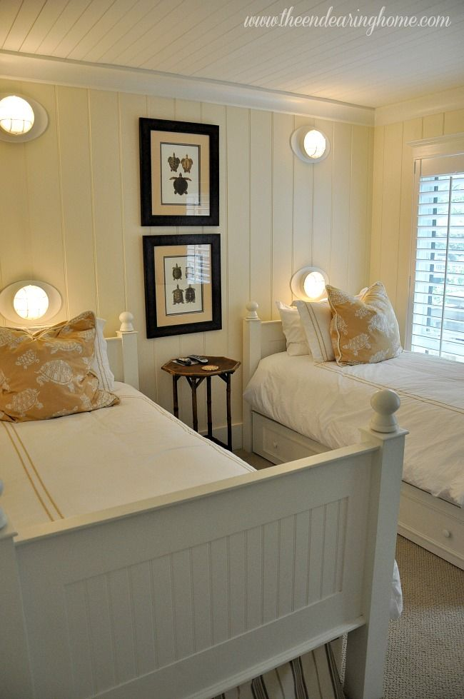 Paint the paneling in the twin bedroom