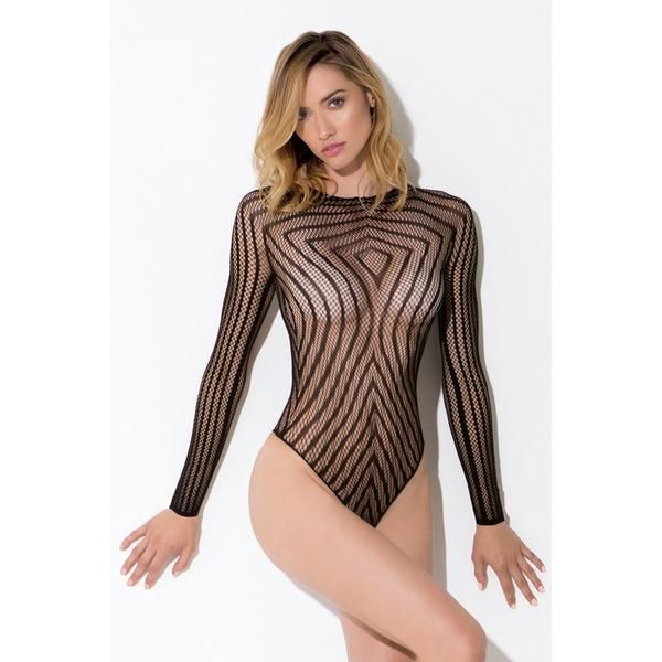 The Hypnotize Me Bodysuit by Hauty Lingerie is spellbinding and a body-binding charm. Mesmerizing vertical lines conform to your natural curves, elongating you