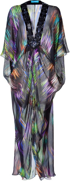Matthew Williamson Escape Black Drape Unlined Kaftan in Multicolor