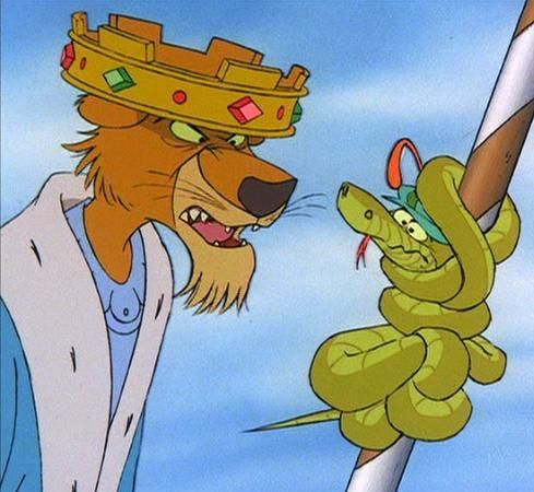 *PRINCE JOHN & SIR HISS--get out of that if you can ~ Robin Hood, 1973