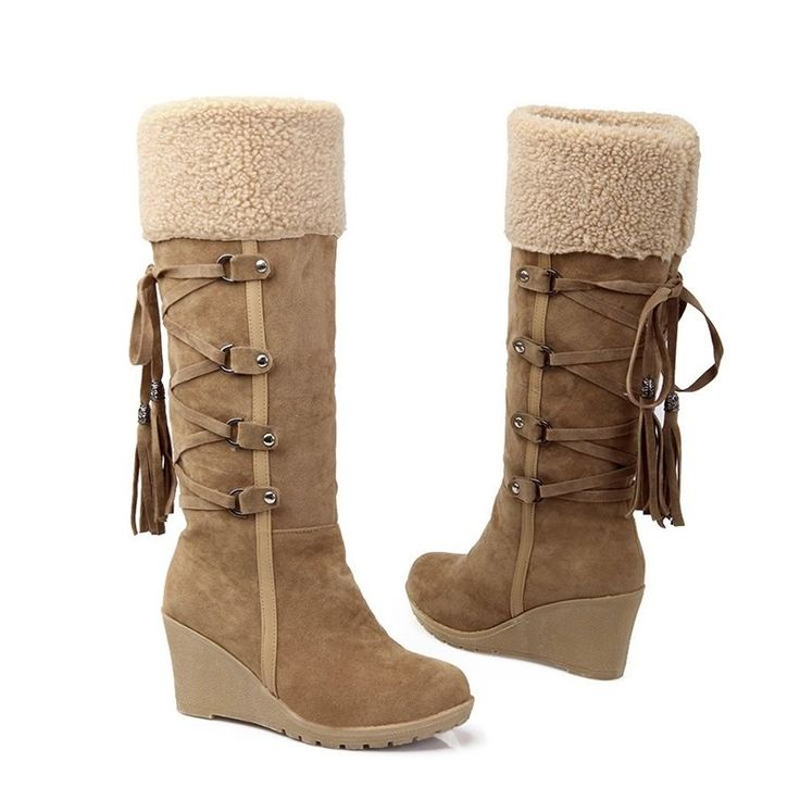 Heel shape: Wedge. Style: Knee high boots. Step 1: Take a ruler, measure your foot length, from heel to big toe (Never measure the length of the shoes you're wearing). Toe shape: Round. Fastening: Lace up Slip on. | eBay!