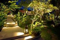 Bali style garden, lighting makes this.