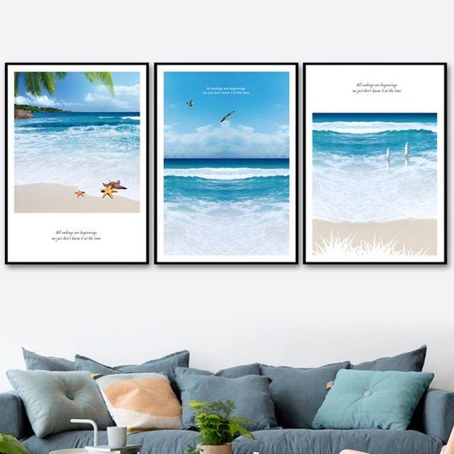 Poster Ocean Sea Wave Beach Surfing Room Art Wall Cloth Print 4