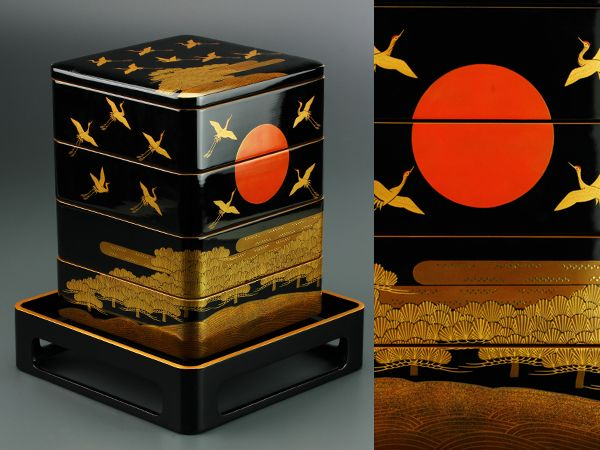 能登輪島製 中前豊次作 極上蒔絵四段重箱