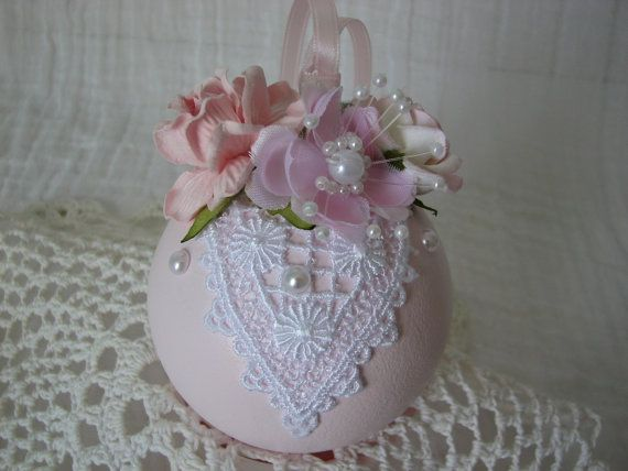 Hand Painted Glass Ball Victorian Ornament Pink Roses Lace Pearls Shabby Chic