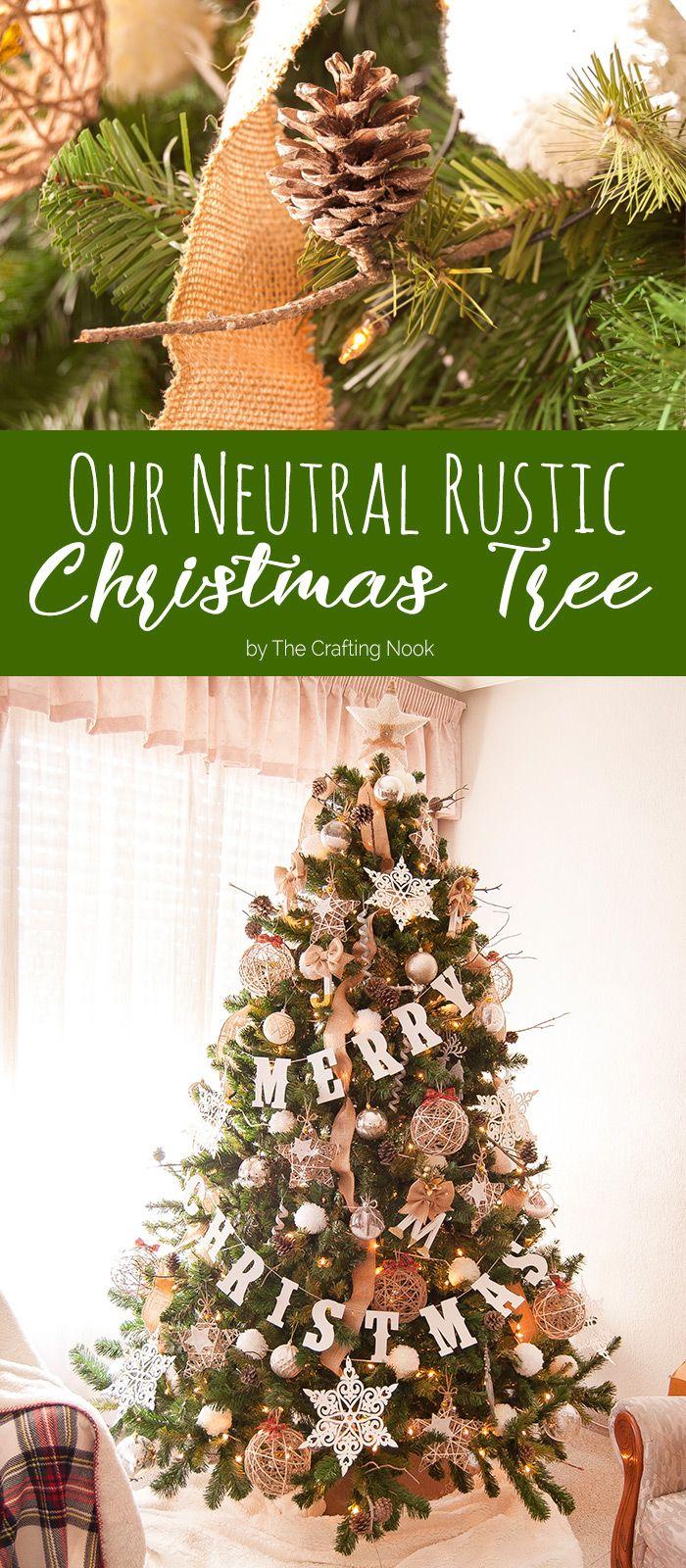 Homemade rustic christmas ornaments - Neutral Rustic Christmas Tree