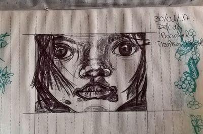 armonyann: dessin au stylo  d'une petite fille