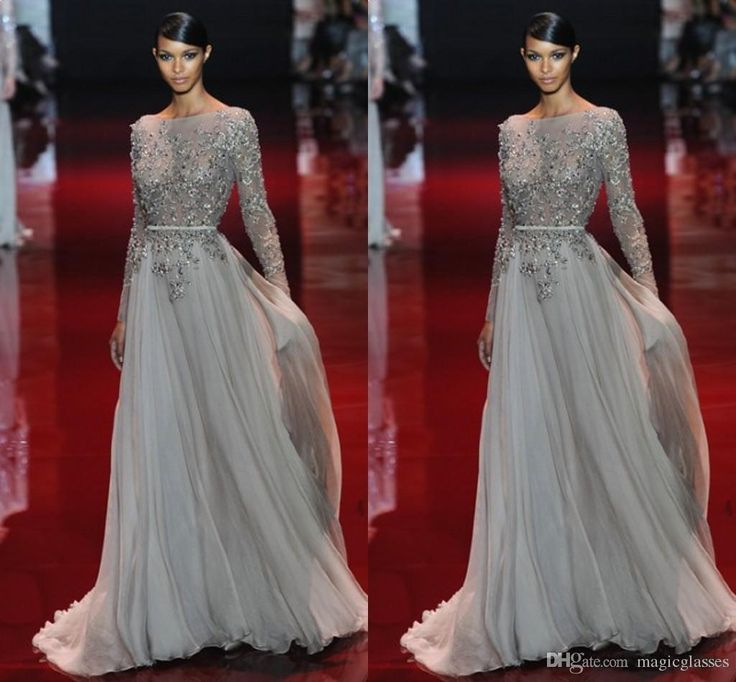 Appliques 2017 Evening Dress Beaded Valentino Elie Saab Sash Sweep Train Sheer Neck Long Sleeves New Party Pageant Dresses Gown Formal Gowns Fall Evening Dresses Floor Length Evening Dress From Magicglasses, $128.98| Dhgate.Com