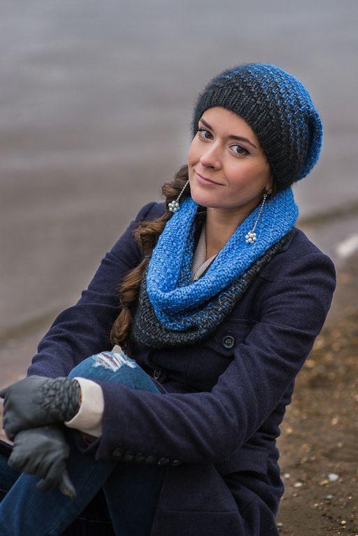 Купить Вязаный снуд и шапка Цвет ночи, комплект вязанный, шарф труба
