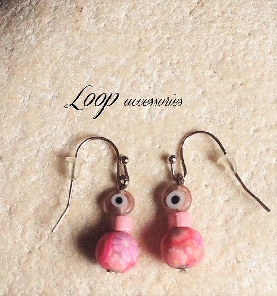 PINK  Stainless Steel Eye Bead Flower by LoopAccessoriesShop