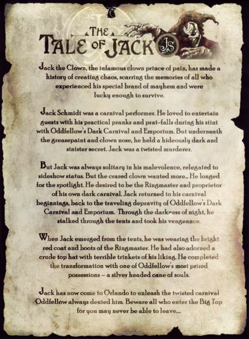 """HHN 17, Universal Studios Florida    """"The Tale of Jack""""is a freebie handout distributed at various A Halloween Horror Nights events. The parchment tells the origin story of Jack the Clown, as retconned to fit into the""""Carnival of Carnage""""storyline.    Image by©Universal Orlando Resort."""