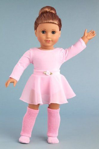 DreamWorld Collections Practice Time - practice ballet outfit includes pink leotard and skirt, leg warmers and ballet slippers - American Gi...