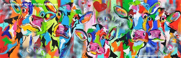 Koeien met kalf naar buiten Veelzijdig Kunstenares Mir / Mirthe Kolkman  www.kunstenaresmir.nl schildert o.a kleurrijke koeien ,dieren. art kunst dier koe koeien koeienportret kleurrijke koe happy cows aniamal boederijdier keo en kalf in de wei koe naar buiten zomer bleoem en de bijtjes buiten grappige koeien funny colourful cow cowart gezellige vrolijk kunstwerken hartjes bijen lieveheersbeestjes in de natuur outdoors hollandse koe