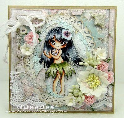 DeeDee´s Card Art: ♥ Copic Marker Europe DT - Hula Girl of Make it Crafty ♥ Copics: Haut/Skin: E13-E11-E00-E000-E0000-R20 Haare/Hair: C9-C7-C5-C3-C1 Augen/Eyes: E25-E33 Hula Rock/Hula skirt: YG93-YG91-G82 Blume/Flowers: RV99-RV95-RV93-RV91-BG72-BG70 Hintergrund/Background: W5-W3-W2-W0-W00-RV91-BG72