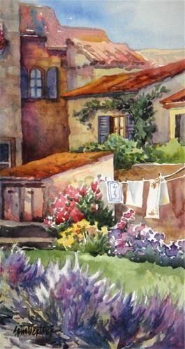 """Lavender and Laundry"" - Original Fine Art for Sale - © by Erin Dertner"