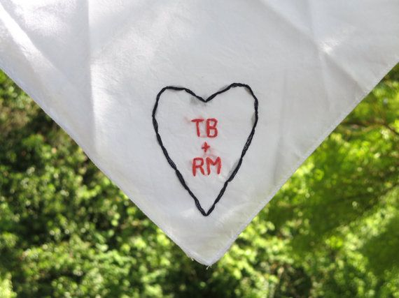 Custom Embroidered Handkerchief 2nd Anniversary Bridal Accessory Valentines Day Gift