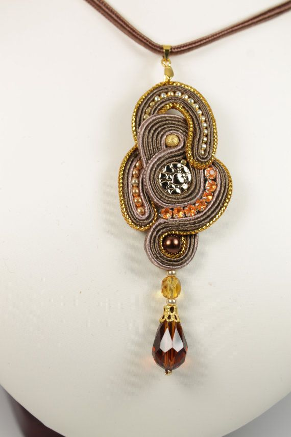 Brown gold soutache pendant. by SoftAmethyst on Etsy, €23.00