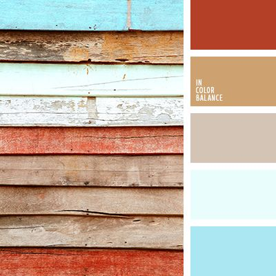 The palette consists of light shades with an accent on brick red color. The brick red colour is very warm and on a background of rich beige it looks even more bright and pleasant. The composition is created from the shades that remind of the country style. composition will suit best house design in a country style.