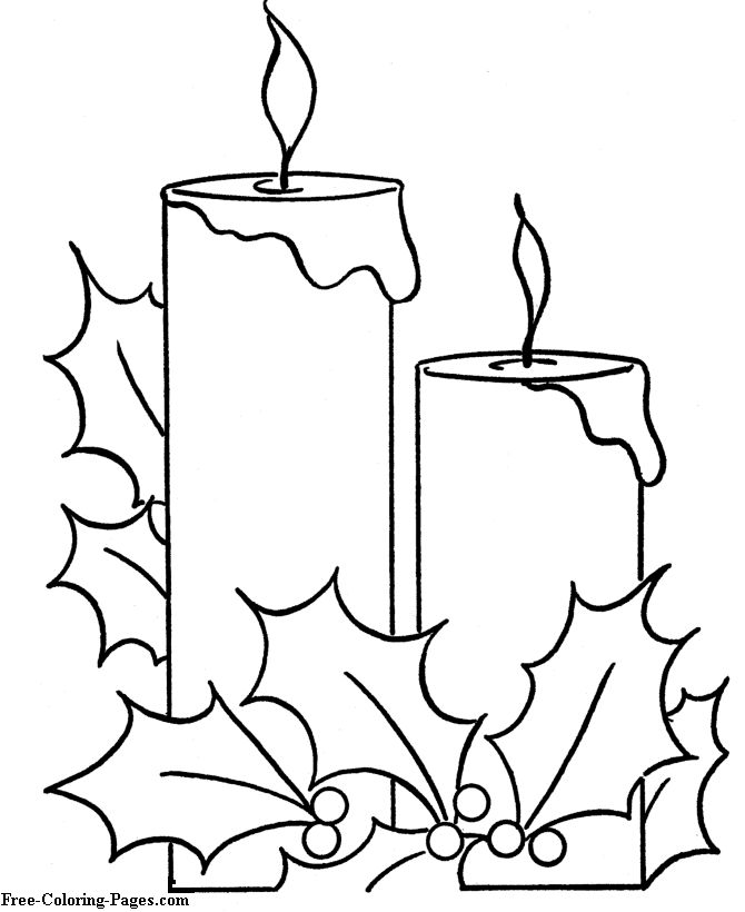 Christmas pictures to color - Holiday Candle