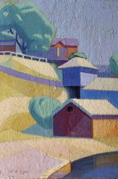 An image of The boat sheds, in violet red key by Roy de Maistre