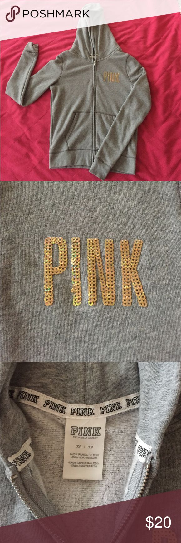 Victoria Secret Pink zip up hoodie Gray VS PINK zip up hoodie. Different shades of gold sequins on front and back. Great condition. PINK Victoria's Secret Tops Sweatshirts & Hoodies
