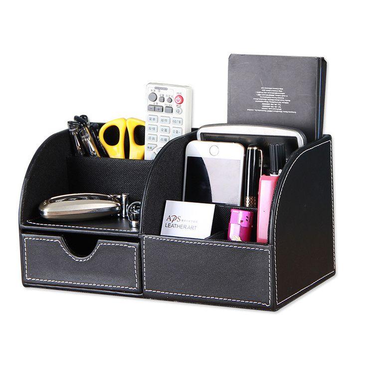 Multifunctional PU Leather Office Desk Organizer,Desktop Stationery Storage  Box Mac Makeup /Mobile Phone