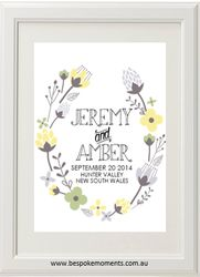 Floral Yellow Wedding Print by Bespoke Moments. Worldwide Shipping Available.