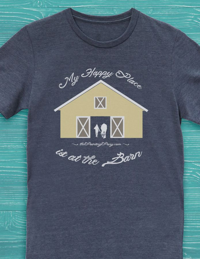 041517516 My Happy Place is at The Barn Equestrian T-Shirt - The Painting Pony - cute  horse lover tee shirts.