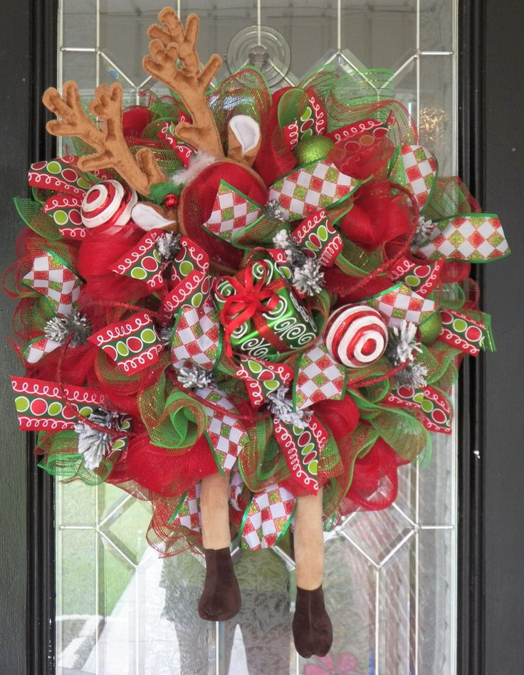 Whimsical Christmas Wreath, Christmas Decoration, Wreath for Door, Front door Wreaths, Door Hanger, Reindeer Decoration, Ready to Ship by OccasionsBoutique on Etsy