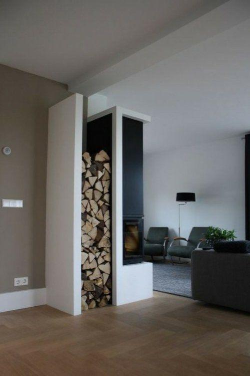 stauraum ideen schmale vertikale Aufbewahrung für Holz