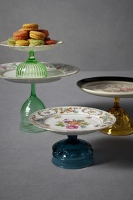 cake stands { #diy } visit a few thrift stores. Super glue. Voila! I've also seen the same thing but they were spray painted white.