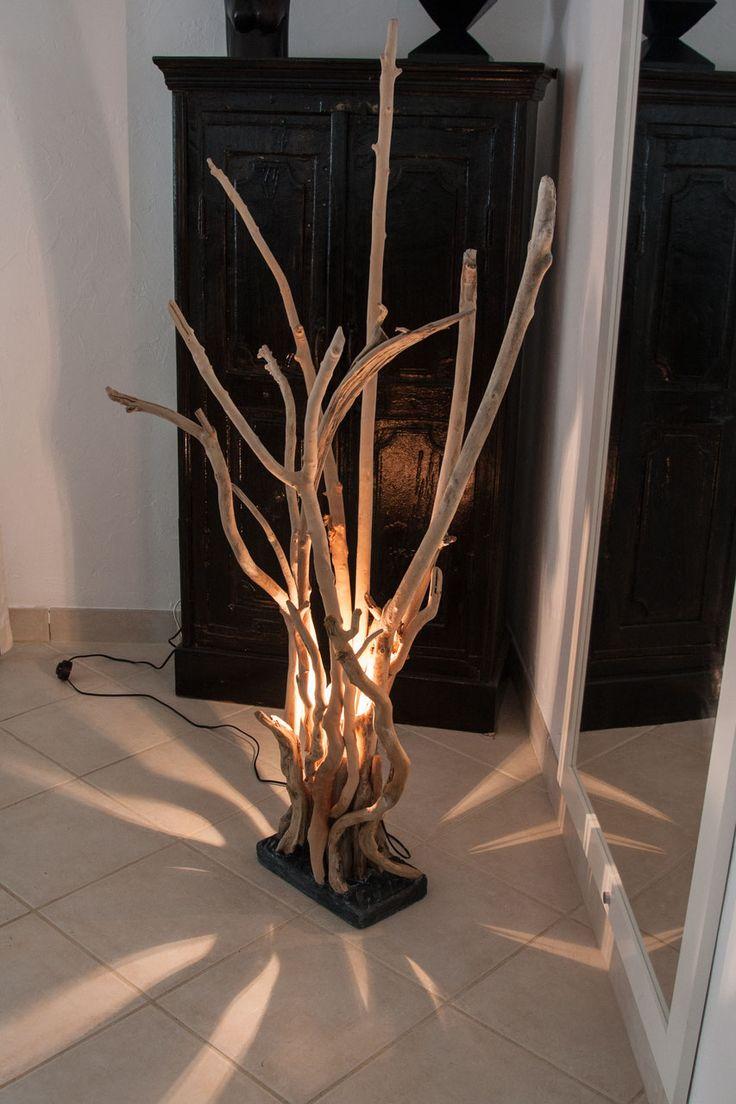 Lampe «Branches» en bois flottés – hauteur 93 cm