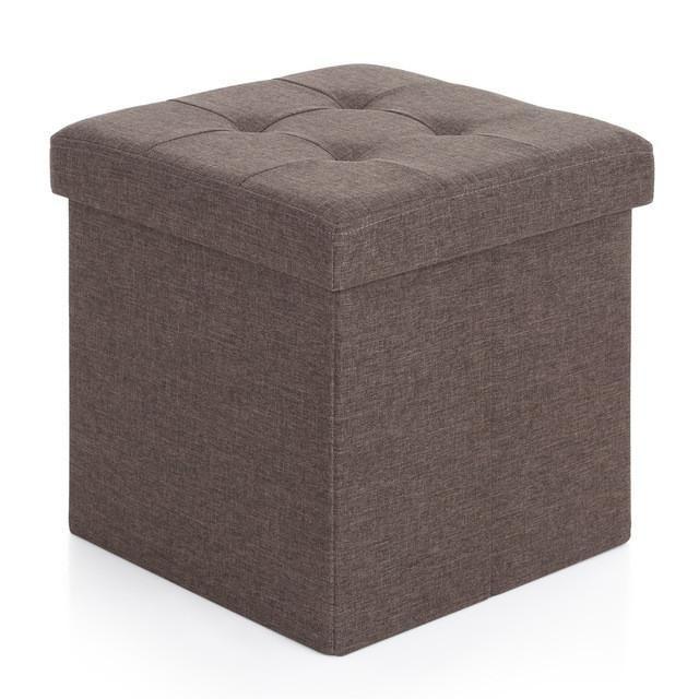 Linen Fabric Foldable Storage Ottoman Cube - Free Shipping