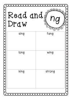 Read and Draw - ng   Follows the UK Letters and Sounds program. Phase 3