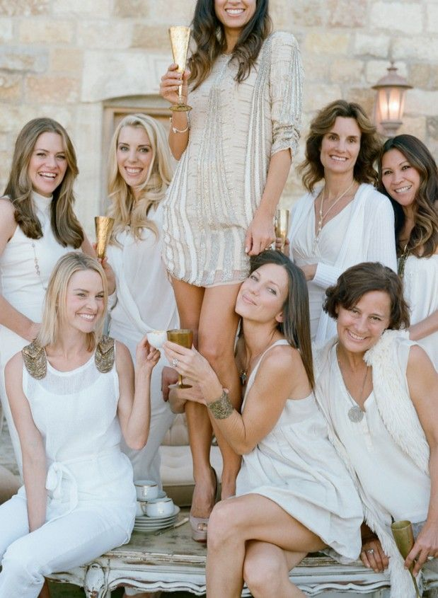 All your hens wear white and you wear gold for your classy hen party