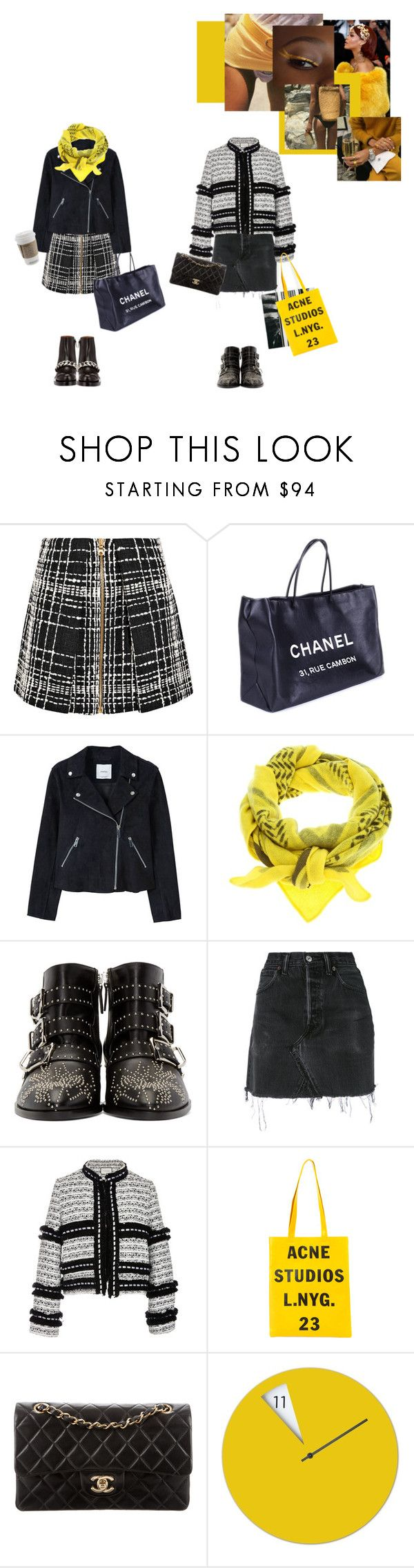 """""""A Little Yellow...."""" by sascha-haarup on Polyvore featuring Balmain, Chanel, MANGO, Lala Berlin, Givenchy, Chloé, RE/DONE, Alexis and Acne Studios"""