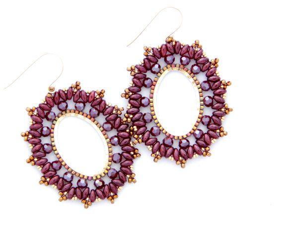 Crystal hoop earrings / Beaded earrings / Super duo by Ranitit