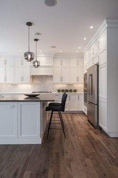 Discover Lauzon's new Organik Hard Maple hardwood flooring Charisma which features our new Pure Genius in this beautiful kitchen. The one and only air-purifying smart hardwood floor. This picture has been taken in a model home by Wrightland.