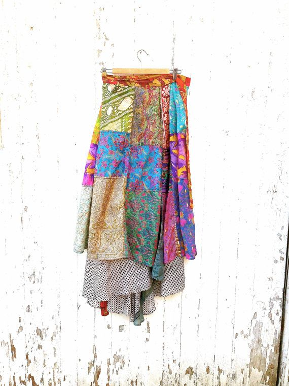 Vtg Boho Silk Patchwork Wrap Skirt Free Size Reversible India Hippie Skirt