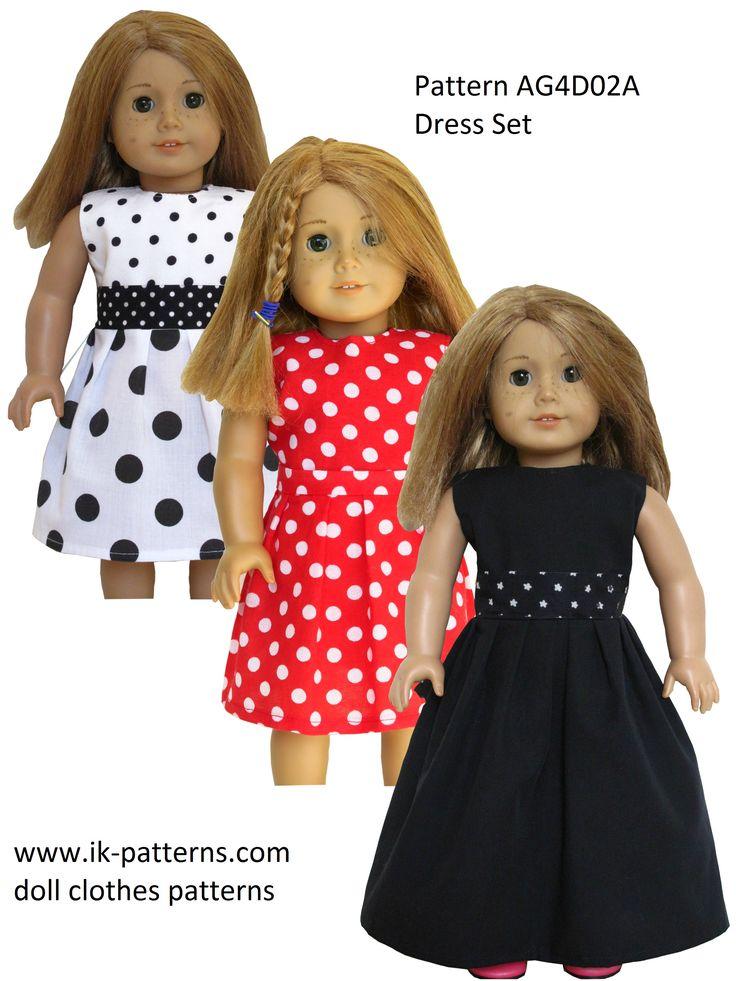 Pattern AG4D02A (Dress Set) - pattern bundle. 18 inch doll clothes sewing patterns.
