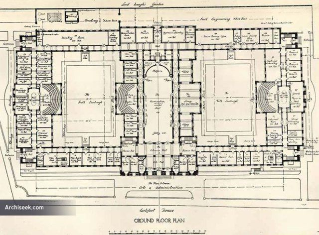 Ground Floor 1912 – Proposal for University College Dublin, Earlsfort Terrace, Dublin Architect: Doolin & Butler