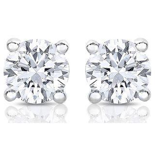 14k White Gold 1/2ct TDW Diamond Stud Earrings (H-I, SI2) - Overstock™ Shopping - Top Rated Diamond Earrings