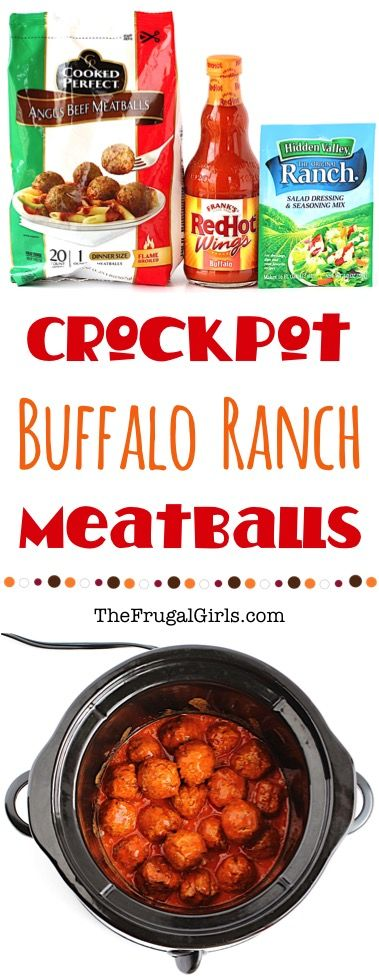 Crockpot Meatballs Buffalo Ranch Recipe!  Just 3 ingredients!!  So EASY to make, and can be served straight out of your Crock Pot as a party appetizer or game day snack! | TheFrugalGirls.com