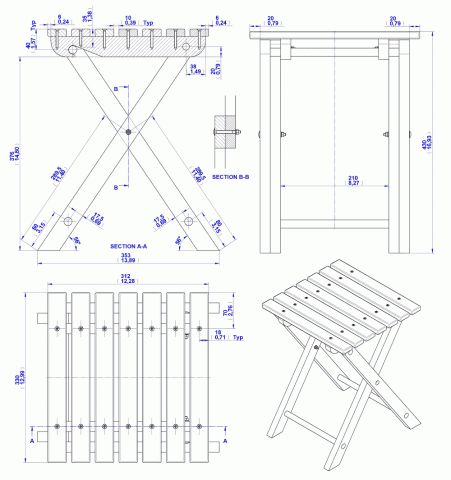 Складной табурет план сборки 2D чертеж