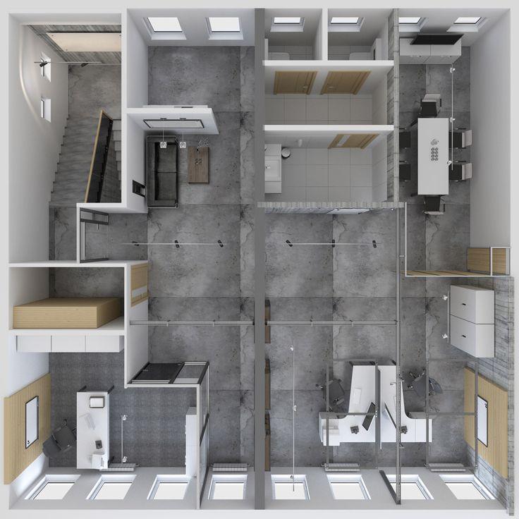Projekt przestrzeni biurowej 130m2 | Studio A&W