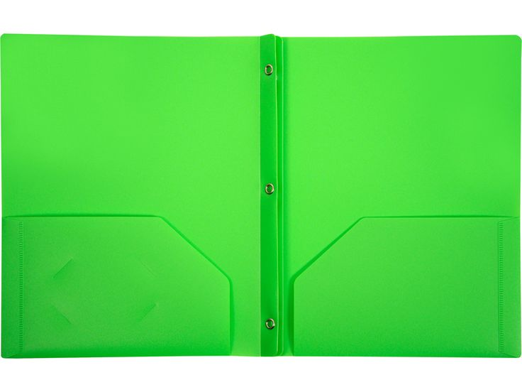 2-Pocket Plastic Folder with Fasteners, Green Pocket Folder