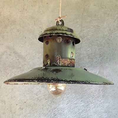 old industrial lighting. Old Vintage Industrial Factory Green Enamel Rustic Pendant Shade Lamp LIght Lighting T