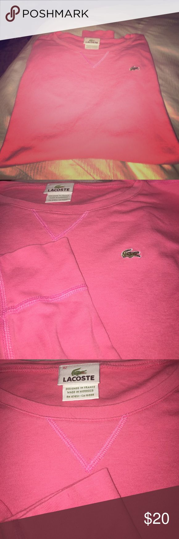 LS crewneck 100% cotton tee Color appears more coral. Signs of wear may run small due to washing. Still in great condition. (Size 42) Lacoste Tops Tees - Long Sleeve